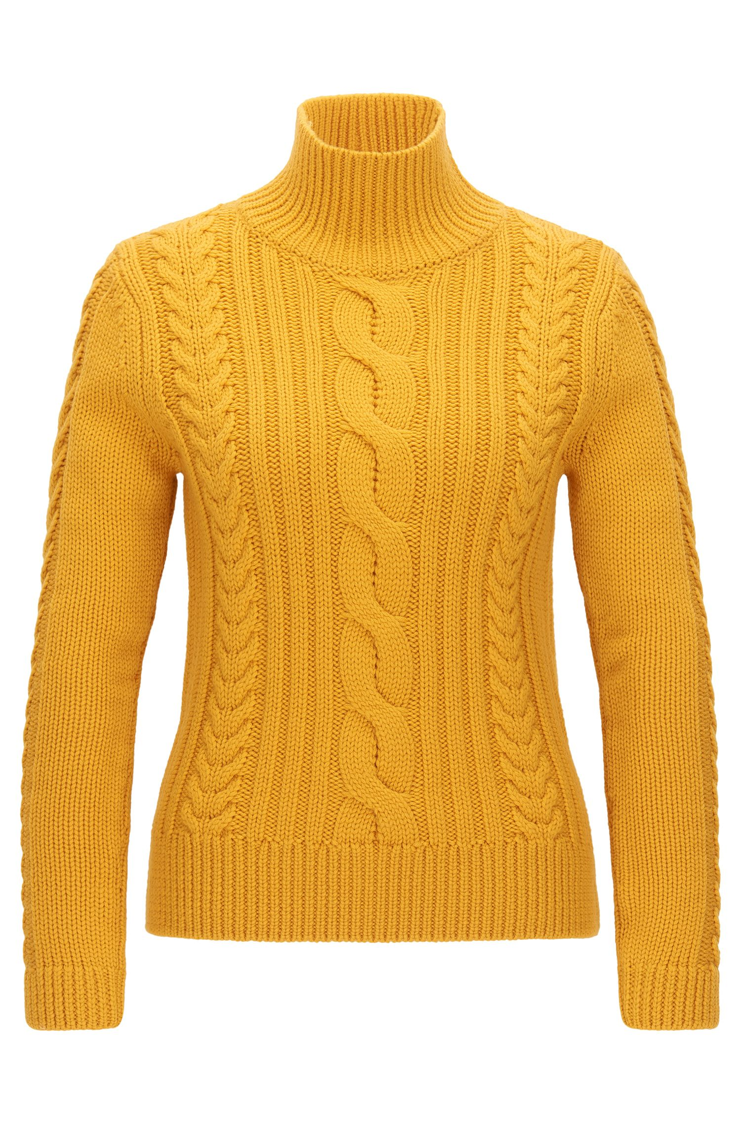 Virgin Wool Cable Knit Sweater | Samini, Gold