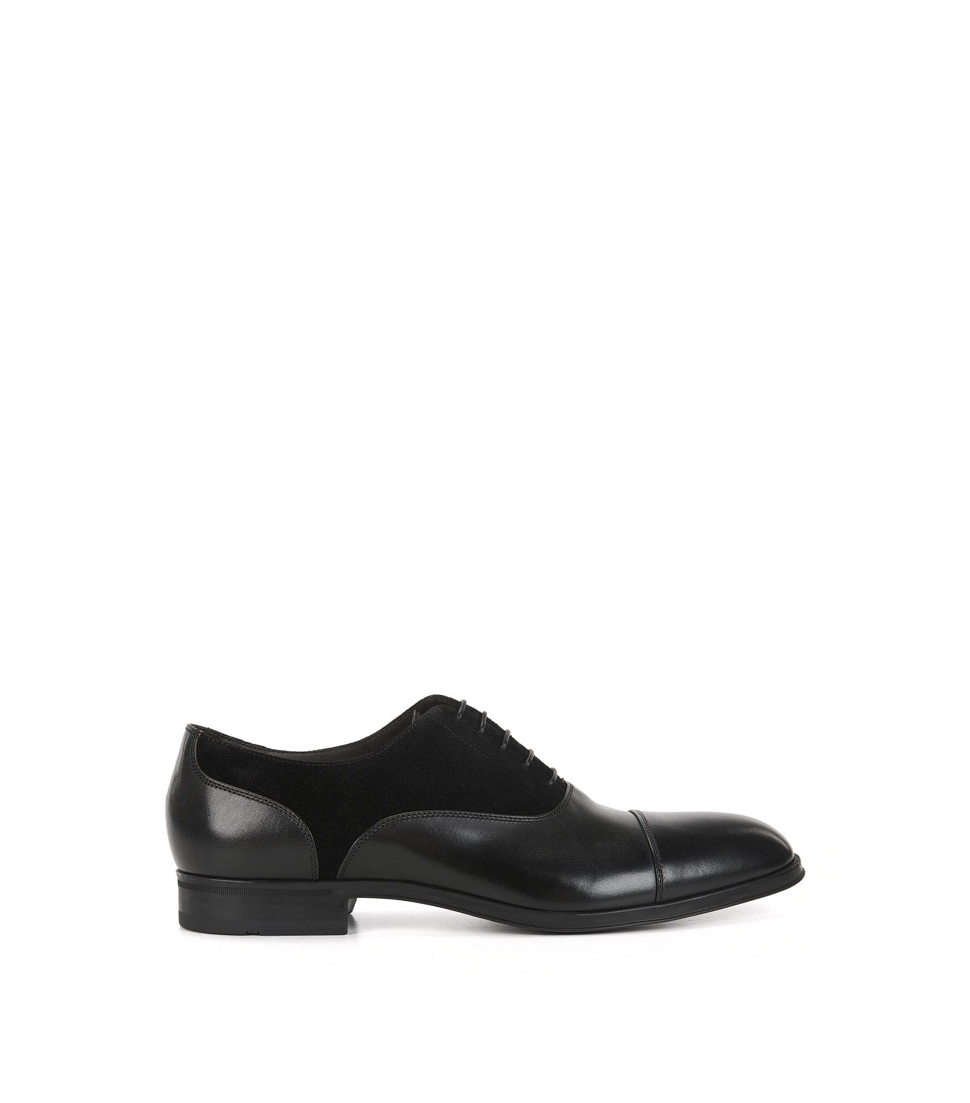 Suede & Leather Saddle Dress Shoe | Eton Oxfr Sdct, Black