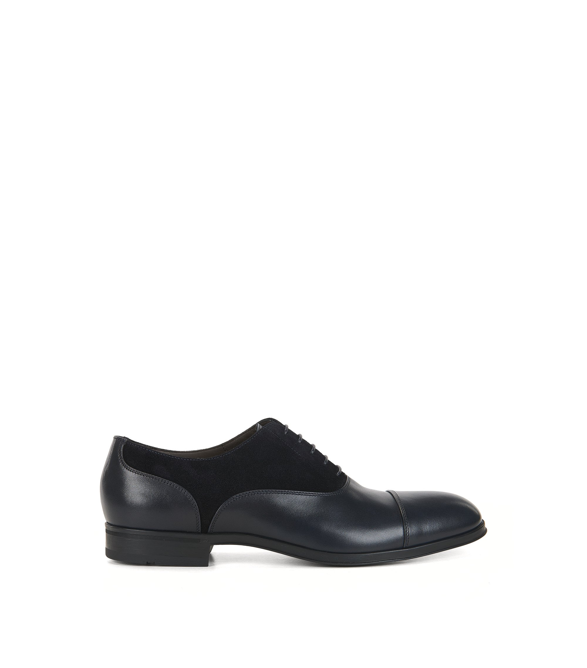 Suede & Leather Saddle Dress Shoe | Eton Oxfr Sdct, Dark Blue