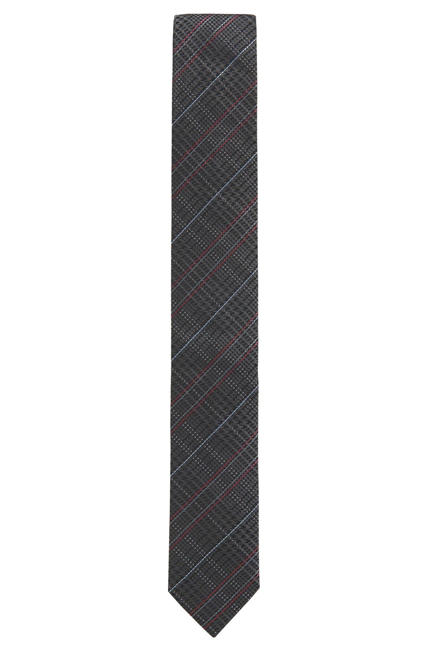 Houndtooth & Plaid Italian Silk Slim Tie