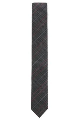 'Tie 6 cm' | Slim, Houndstooth Striped Silk Tie, Charcoal