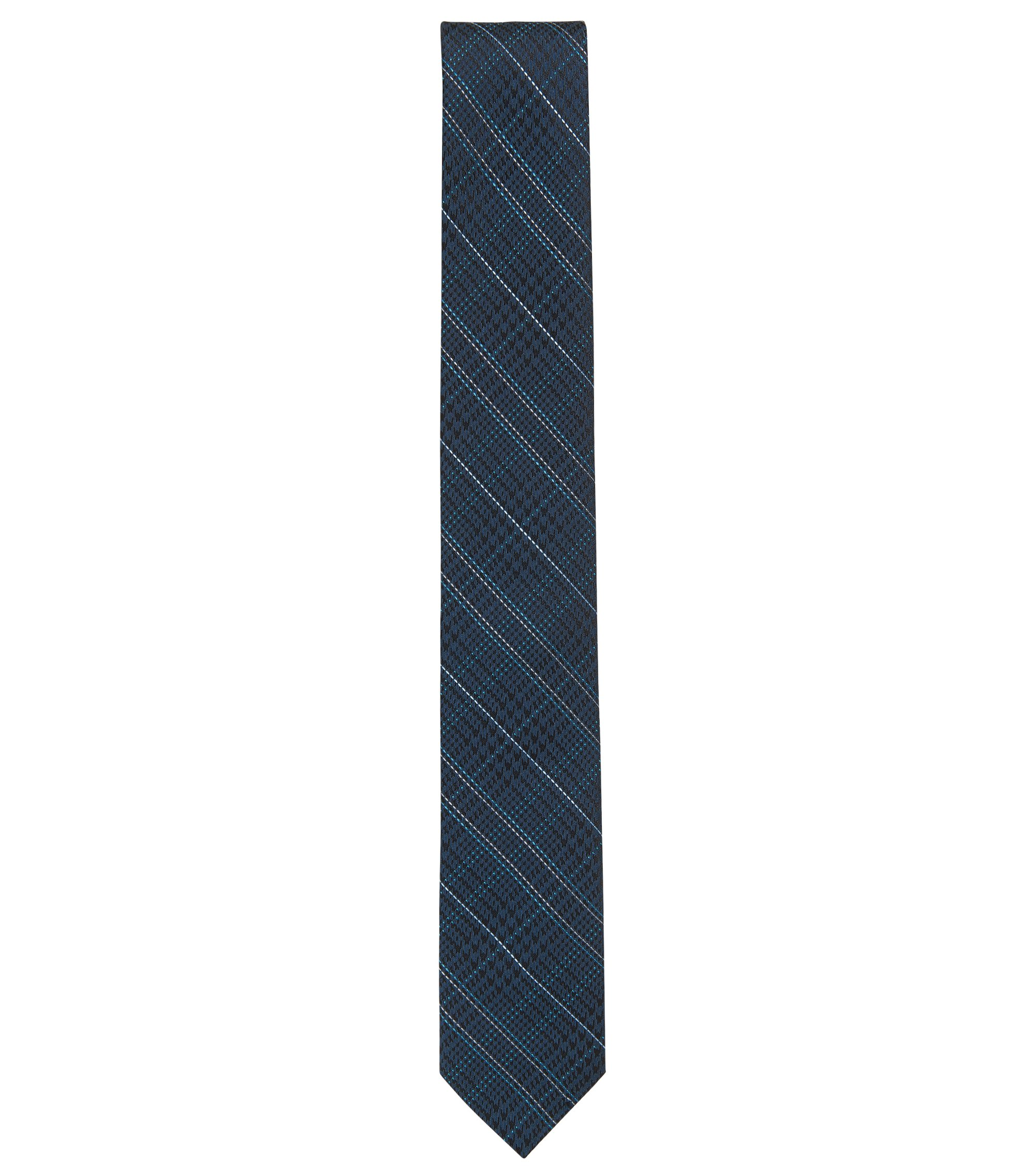 Houndtooth & Plaid Italian Silk Slim Tie, Dark Blue