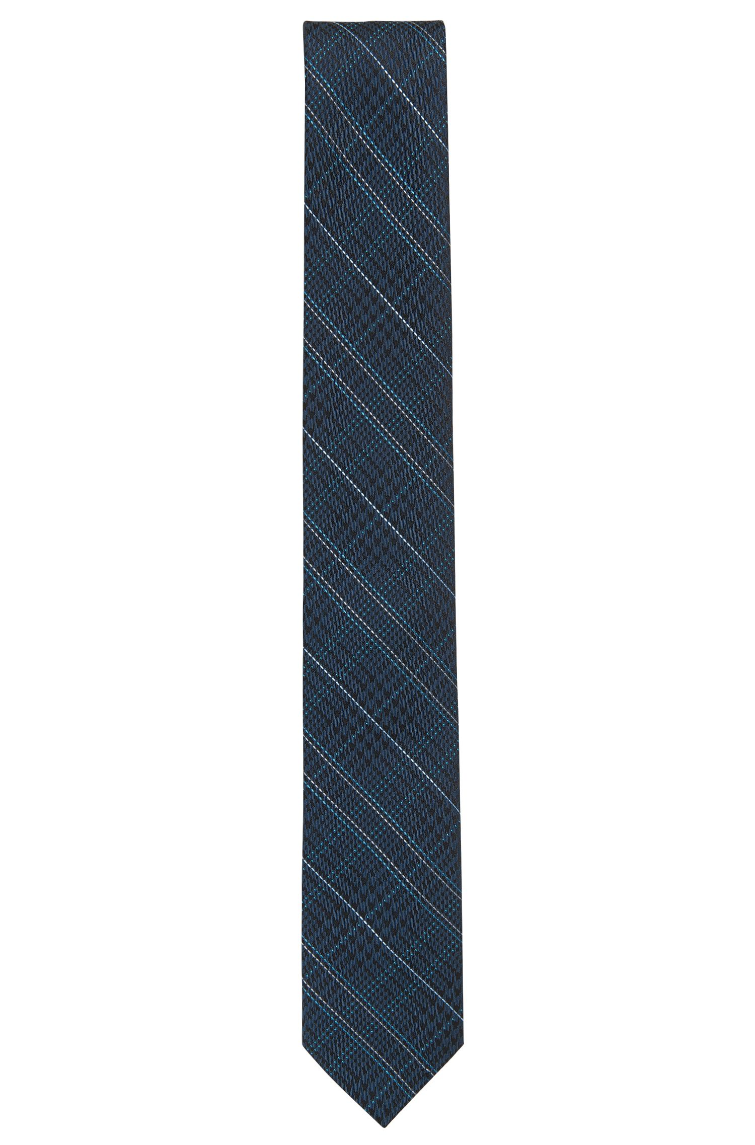 Houndtooth & Plaid Italian Silk Slim Tie