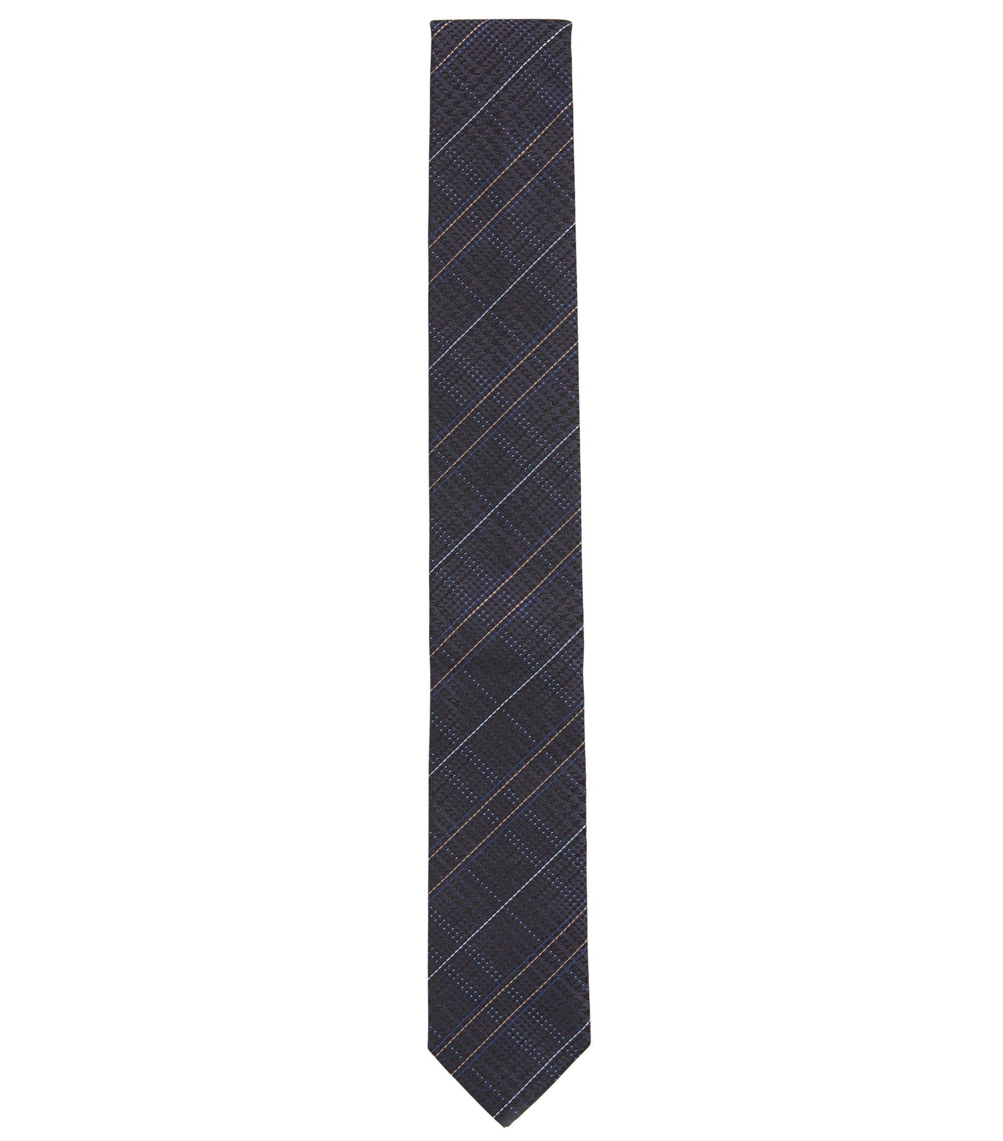 Houndtooth & Plaid Italian Silk Slim Tie, Dark Blue