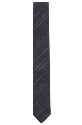'Tie 6 cm' | Slim, Houndstooth Striped Silk Tie, Dark Blue