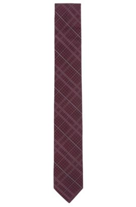 Houndtooth & Plaid Italian Silk Slim Tie, Dark pink