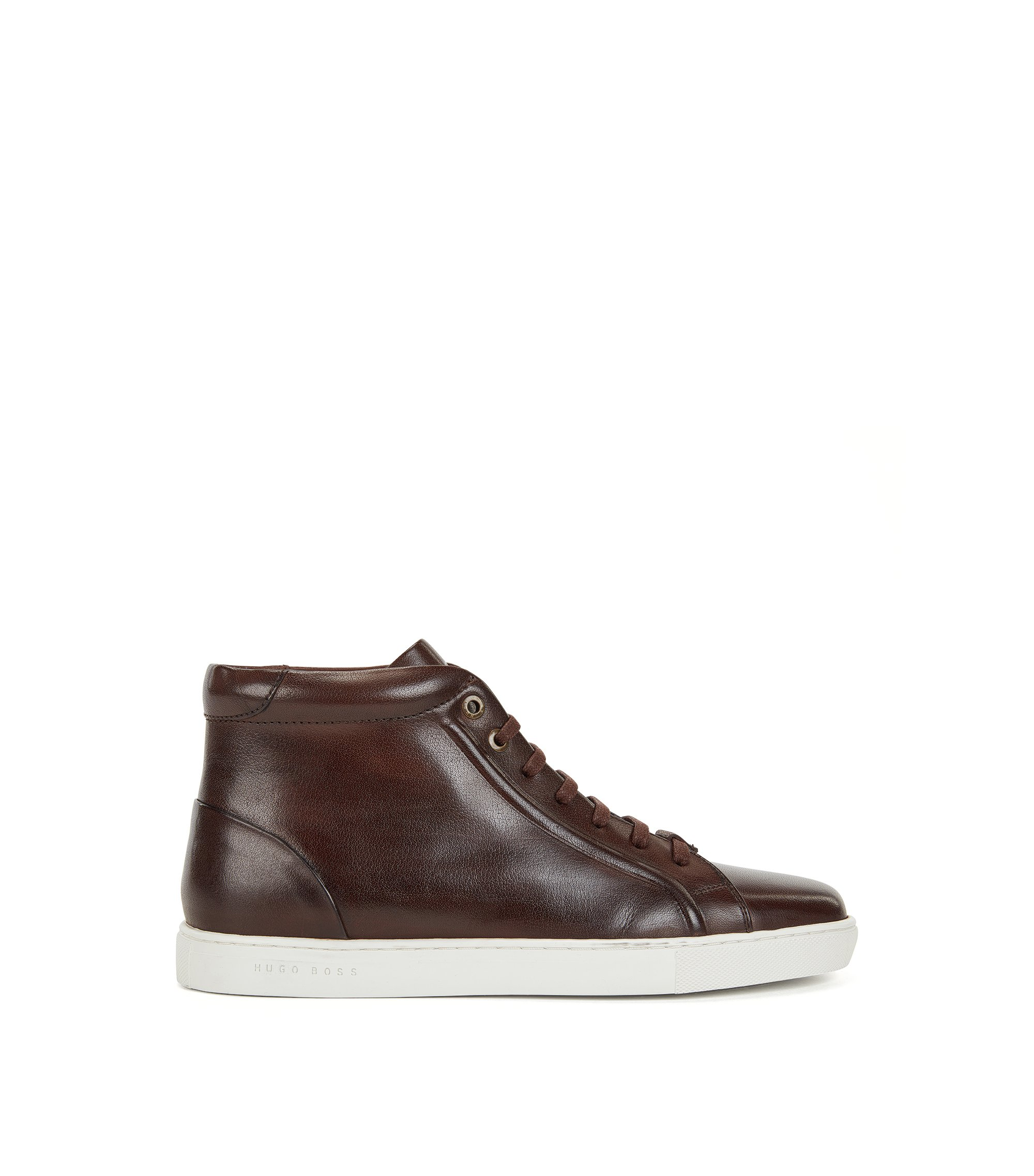 Buffalo Leather High-Top Sneaker | Tribute Hito Bu, Dark Brown