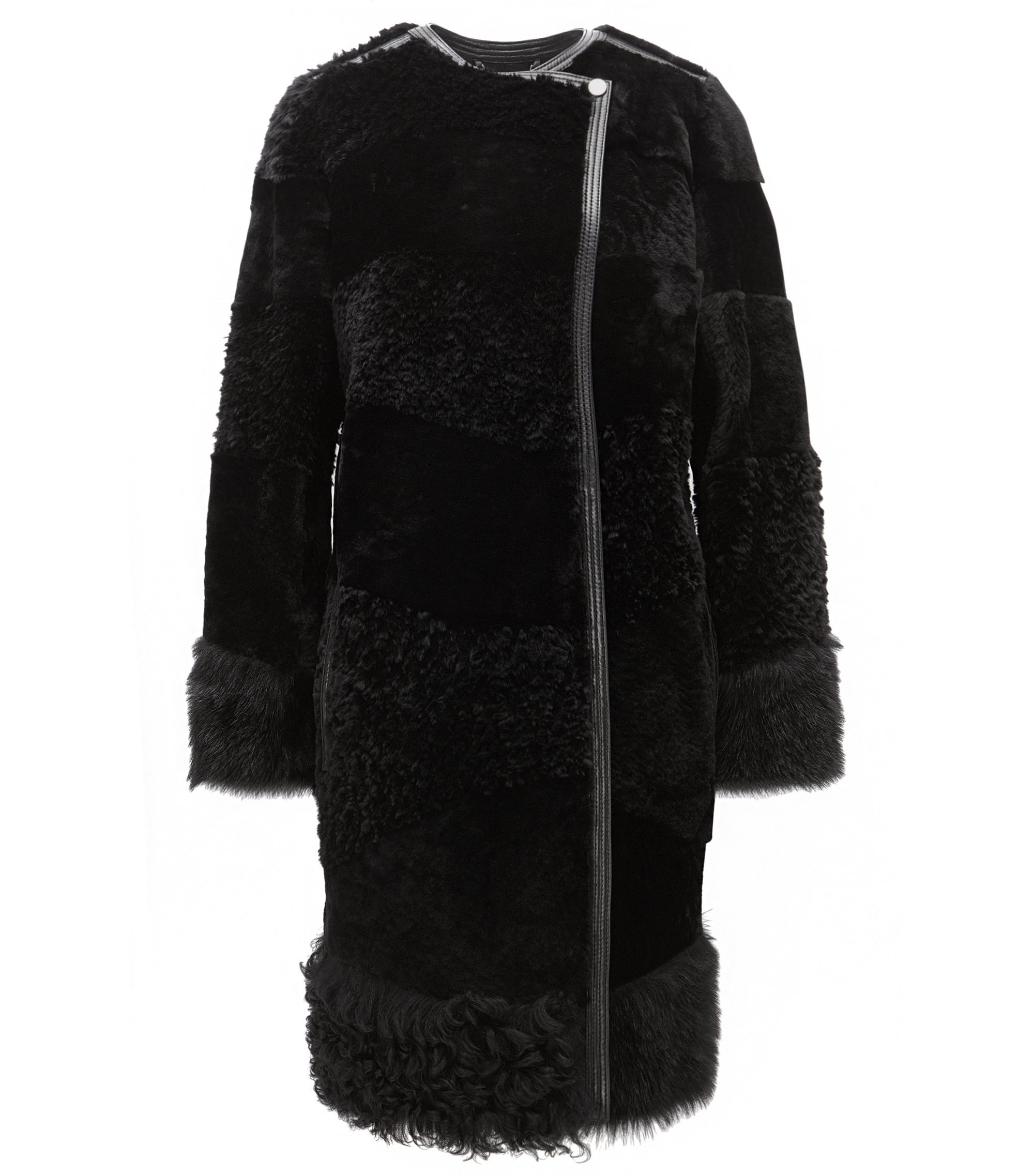 Patchwork Shearling Coat | Sopora, Black