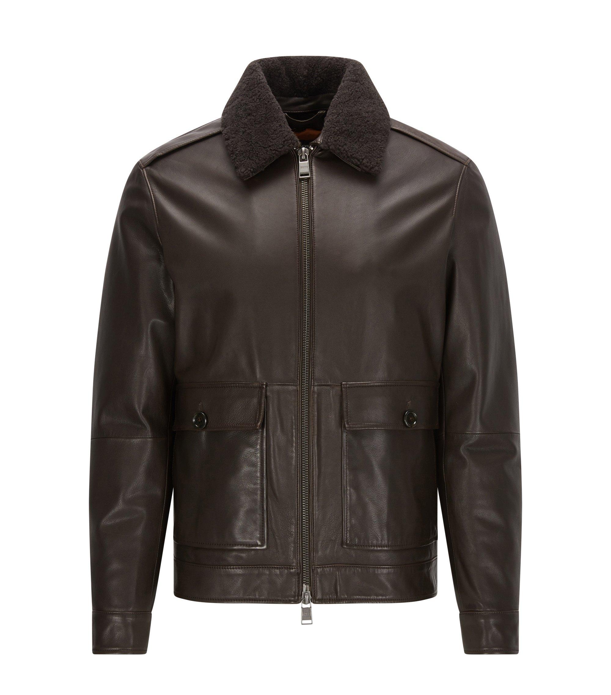 Sheepskin Aviator Jacket | Graven, Dark Brown