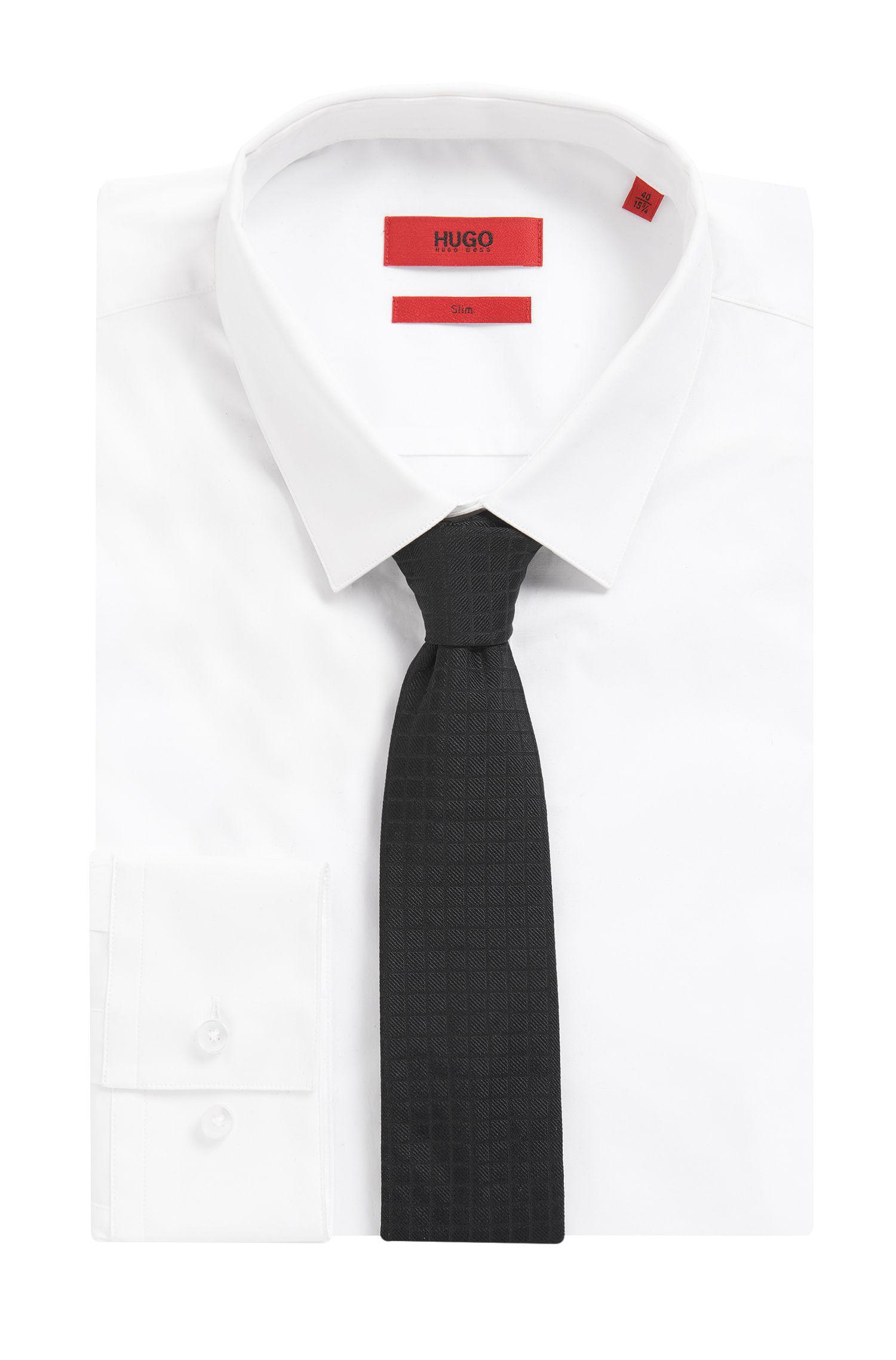 Square Embroidered Italian Silk Slim Tie