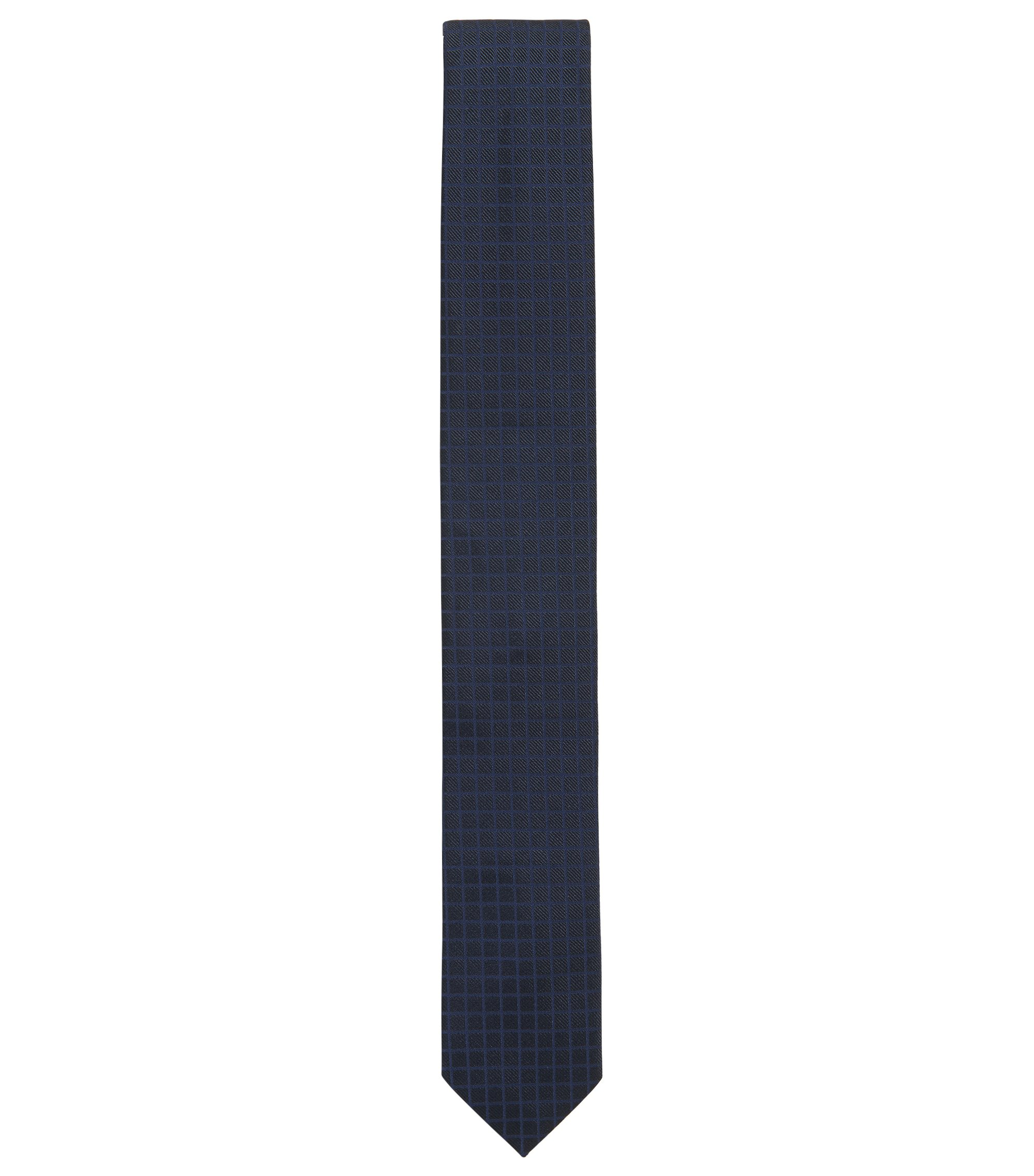 Square Embroidered Italian Silk Slim Tie, Dark Blue