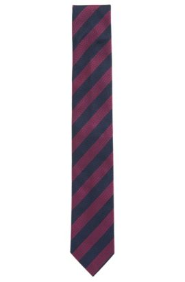 Striped Italian Silk Tie, Regular | Tie cm 7, Dark pink