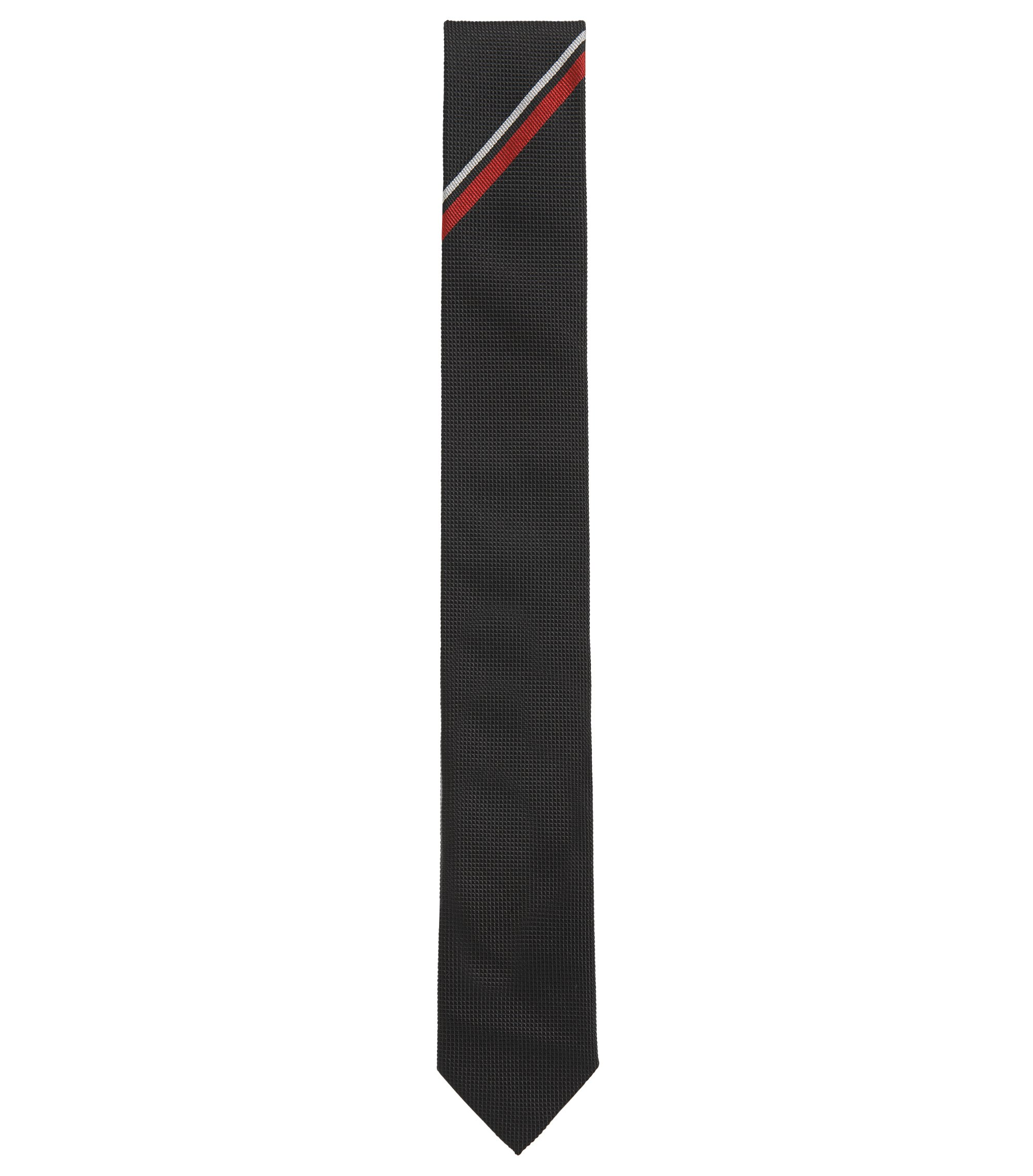 Striped Silk Slim Tie, Black