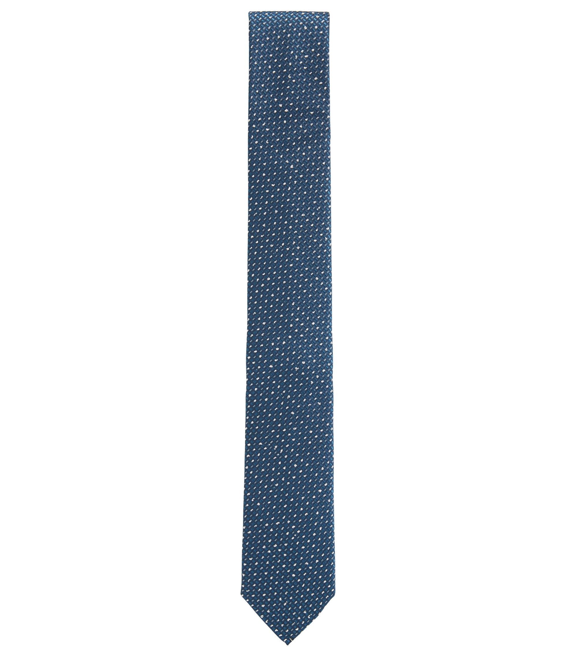 Microprint Embroidered Italian Silk Slim Tie, Dark Blue