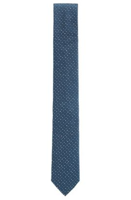 'Tie 6 cm' | Slim, Microprint Embroidered Silk Tie, Dark Blue