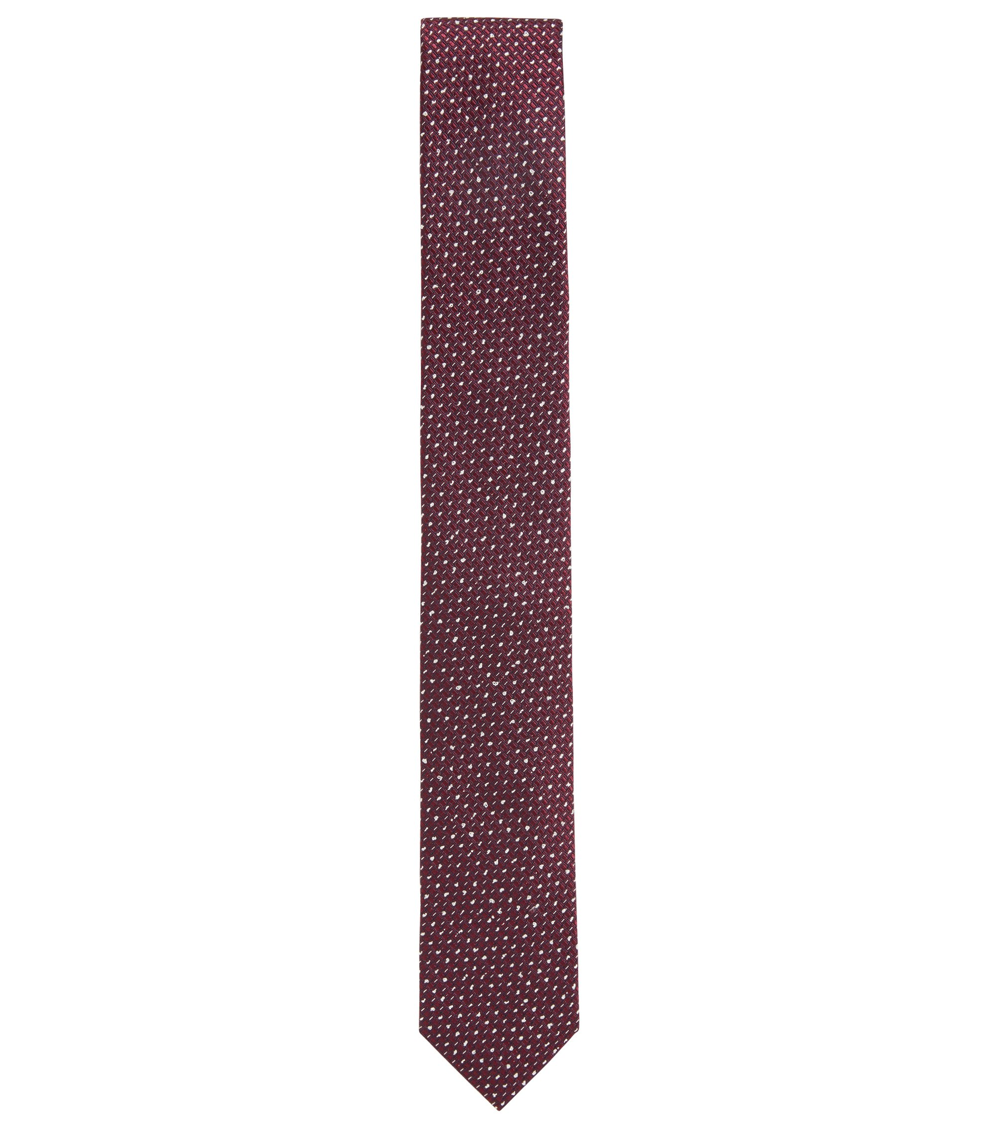 Microprint Embroidered Italian Silk Slim Tie, Dark pink