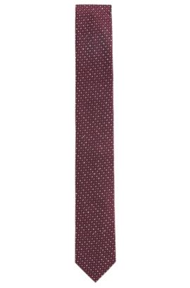 Microprint Embroidered Italian Silk Slim Tie, Dark pink