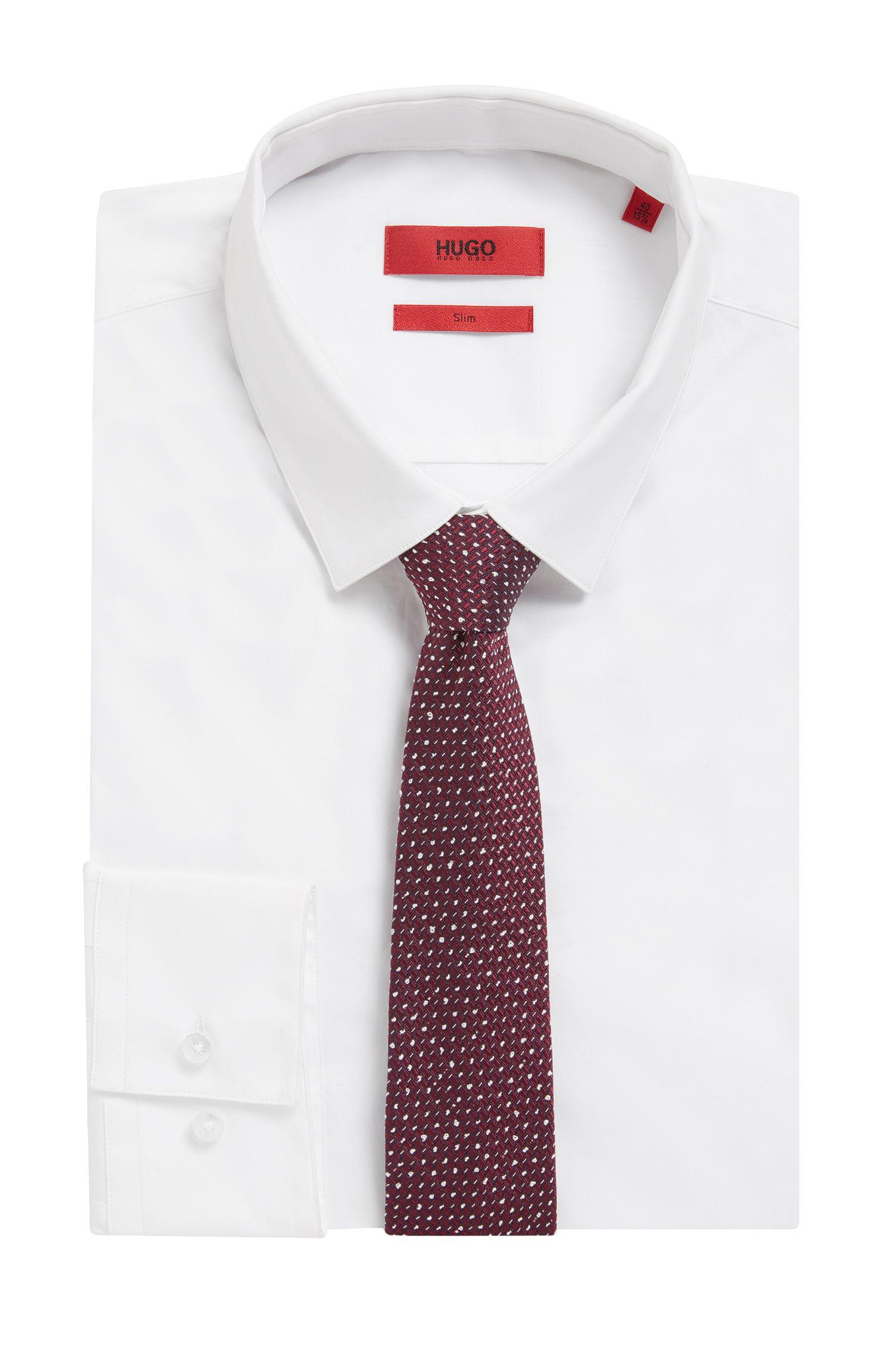 Microprint Embroidered Italian Silk Slim Tie