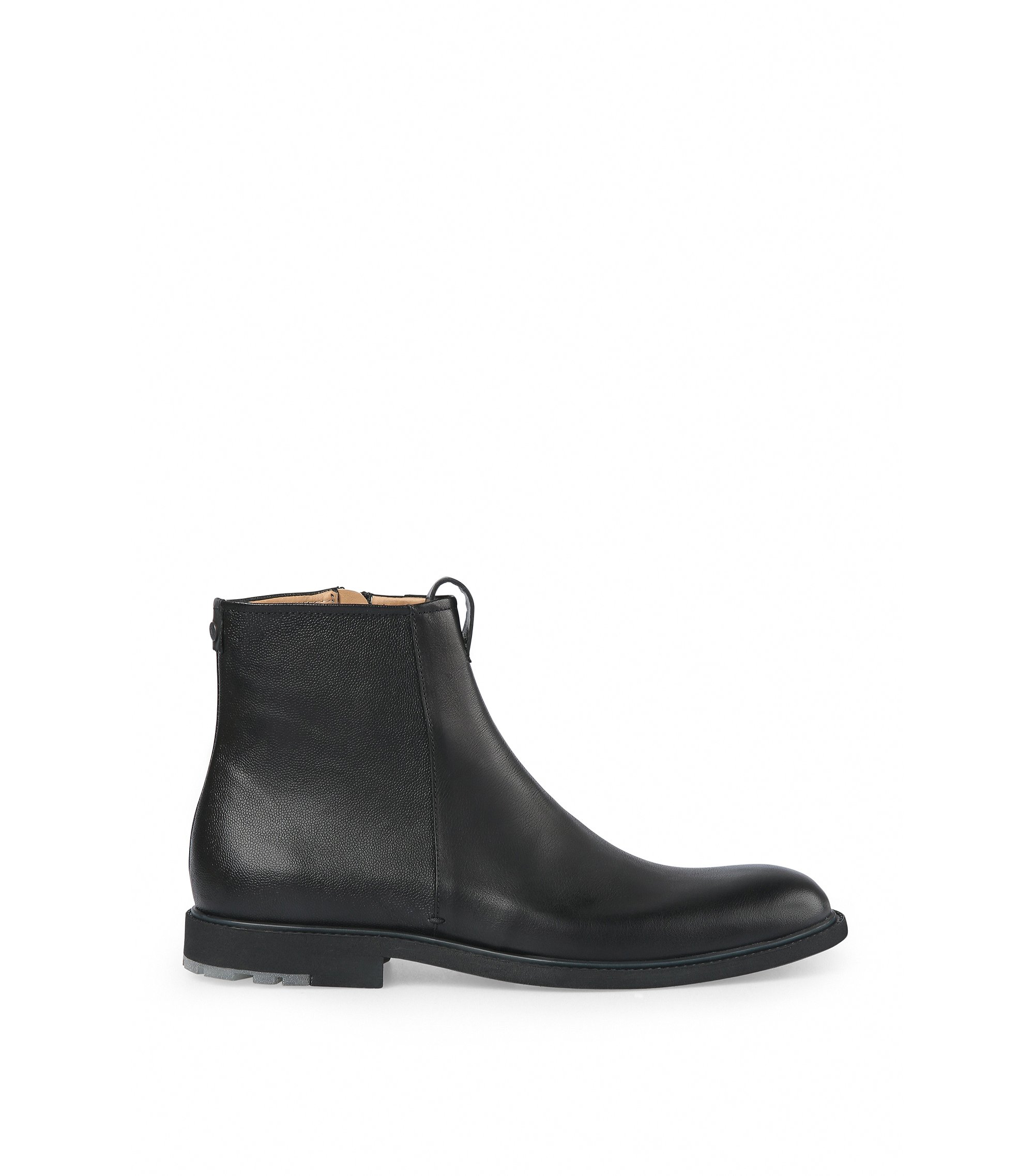 Leather Ankle Boot | Cultroot Zipb Itwsgr, Black
