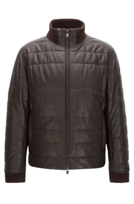 Lambskin Quilted Jacket | Neffo, Dark Brown