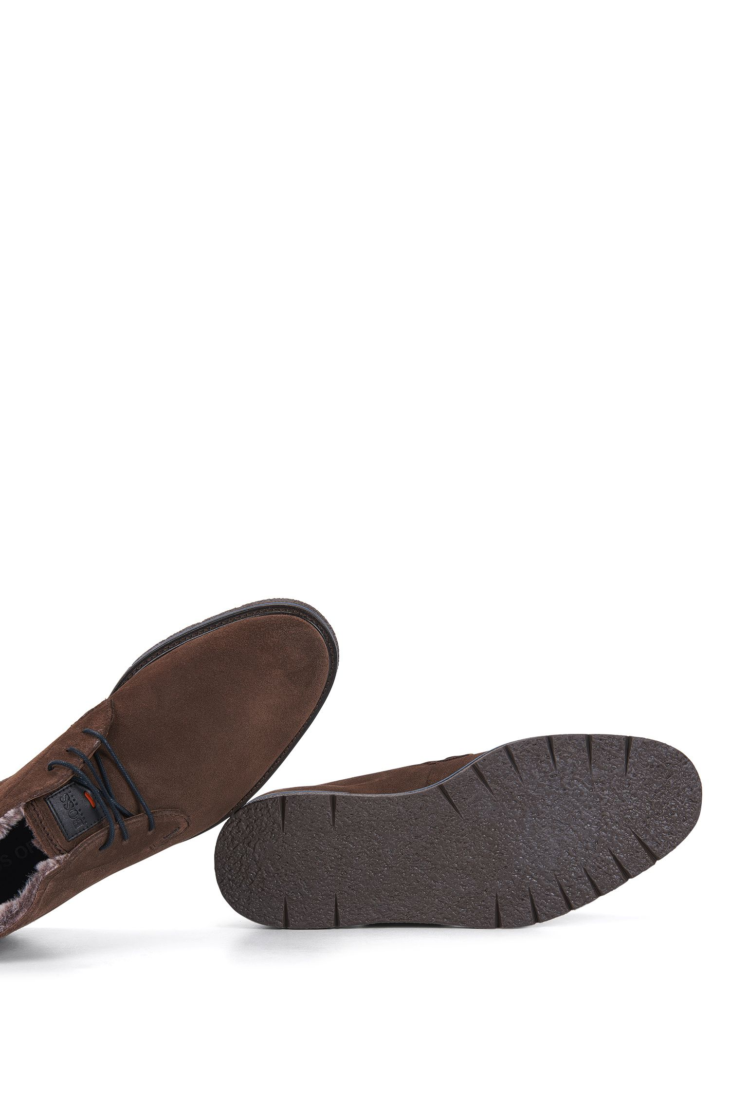 Fur-Lined Suede Desert Boot | Tuned Desb Sdfur, Dark Brown