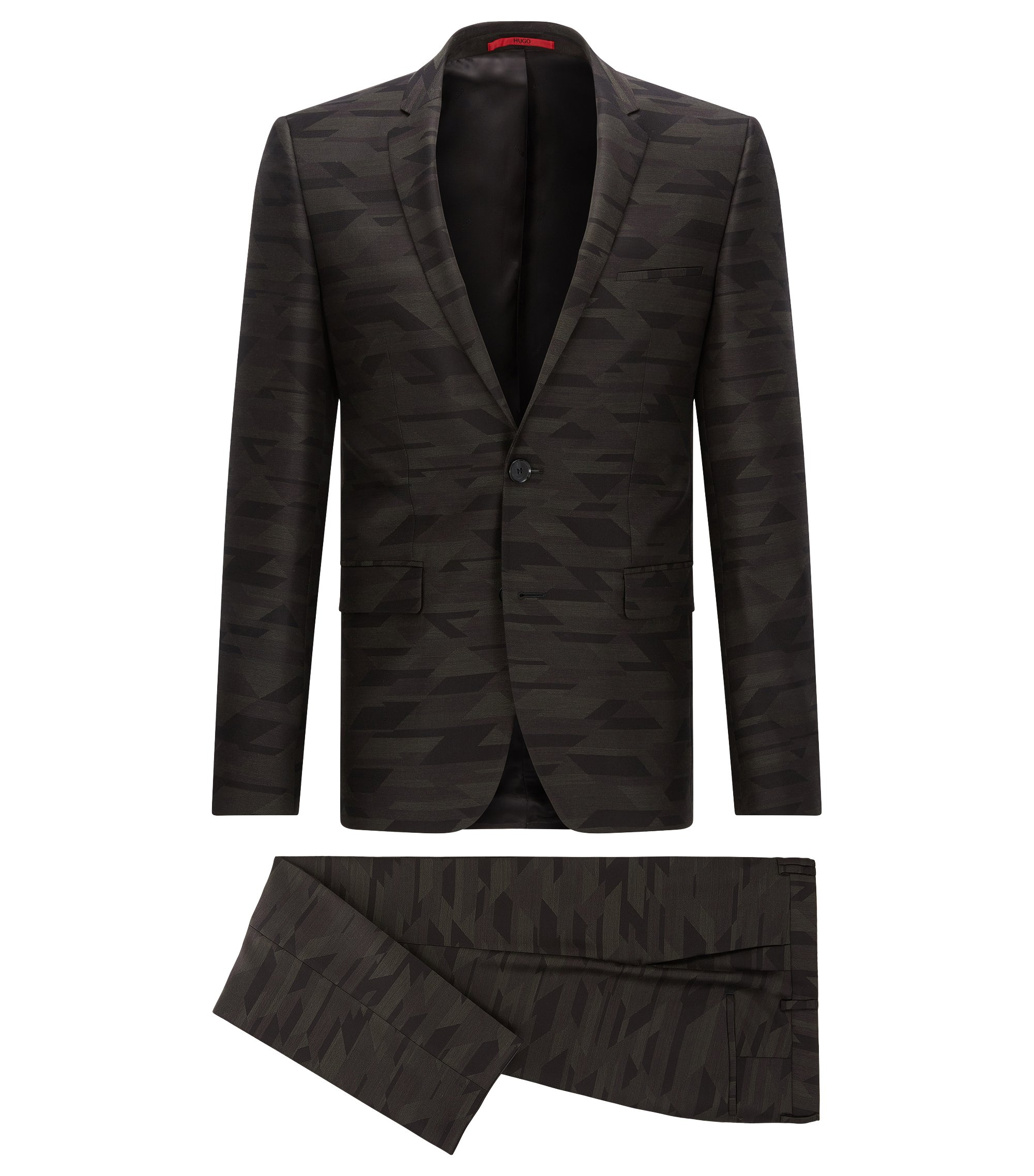 Geometric Virgin Wool Suit, Extra Slim Fit | Adris/Heilon, Patterned