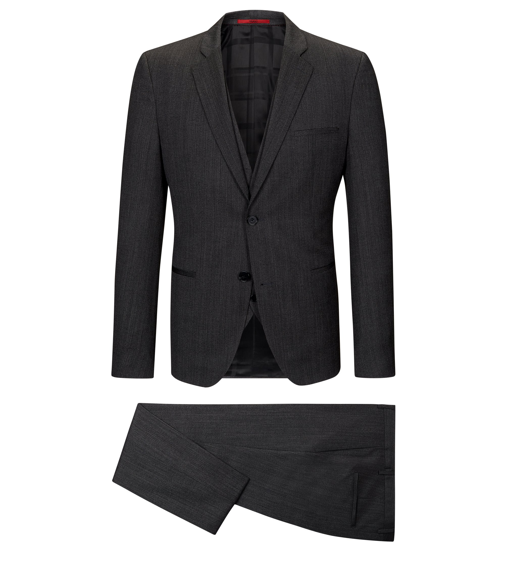 Herringbone Virgin Wool 3-Piece Suit, Extra Slim Fit | Arnin/Wilardo/Hermin, Open Grey