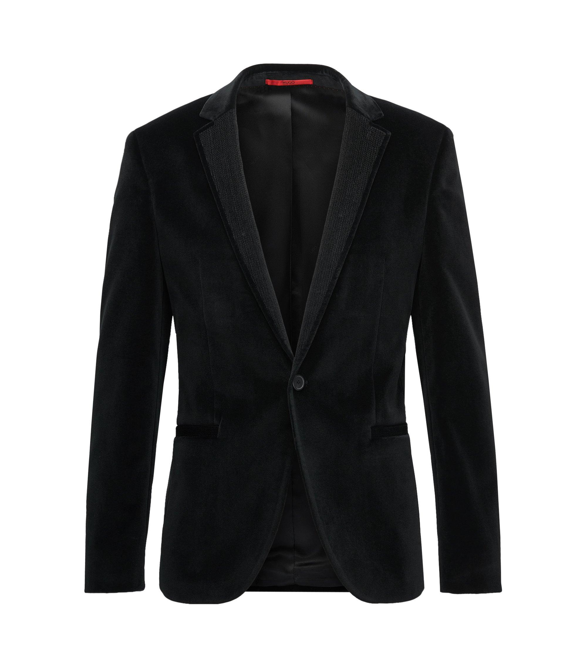 Velvet Sport Coat, Extra Slim Fit   Alwaro, Black