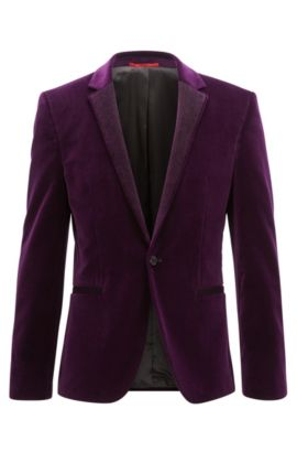 Velvet Sport Coat, Extra Slim Fit | Alwaro, Dark pink