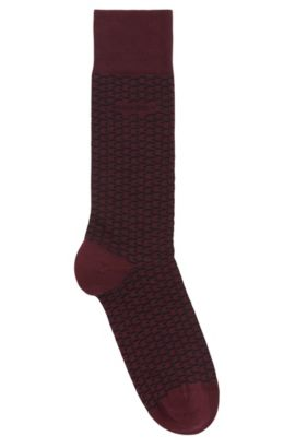 'RS MiniPattern US CC' | Stretch Cotton Blend Socks, Dark Red