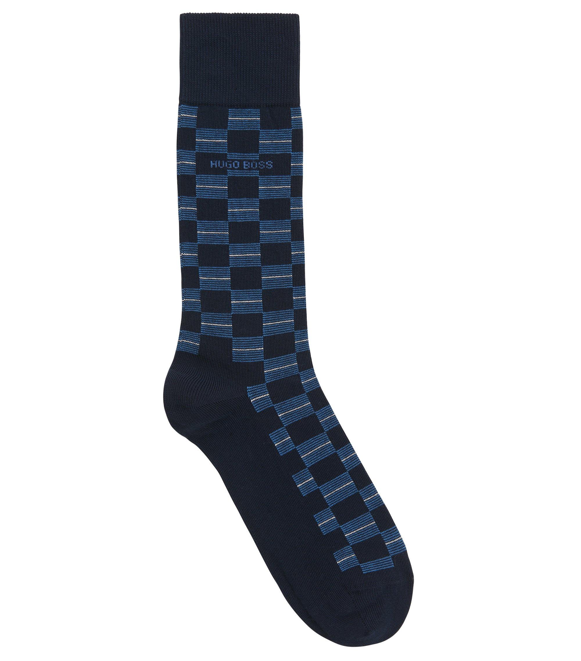Checked Stretch Cotton Blend Socks | RS Check US CC, Dark Blue