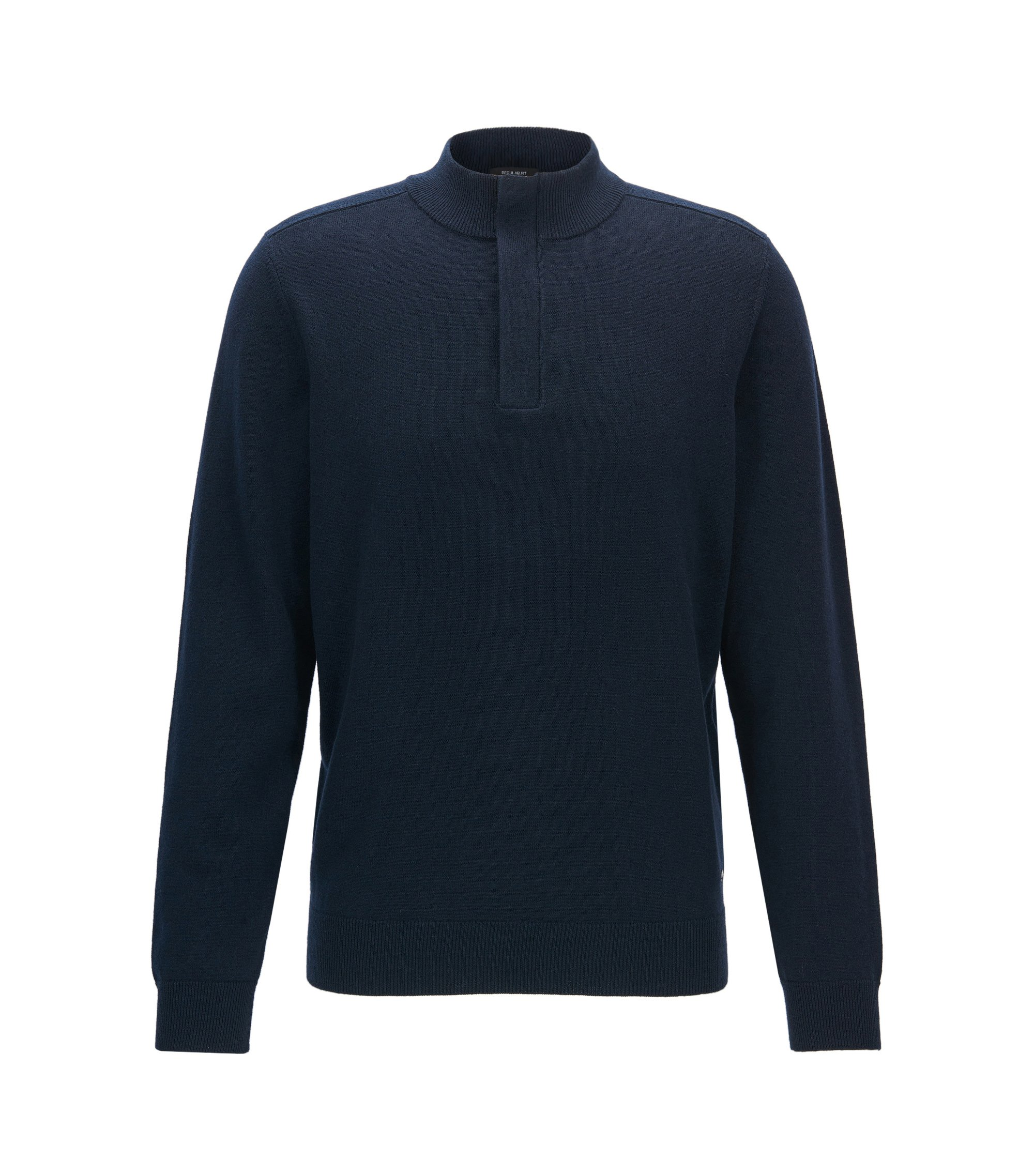 Cotton Virgin Wool Sweater | Napoleone, Dark Blue