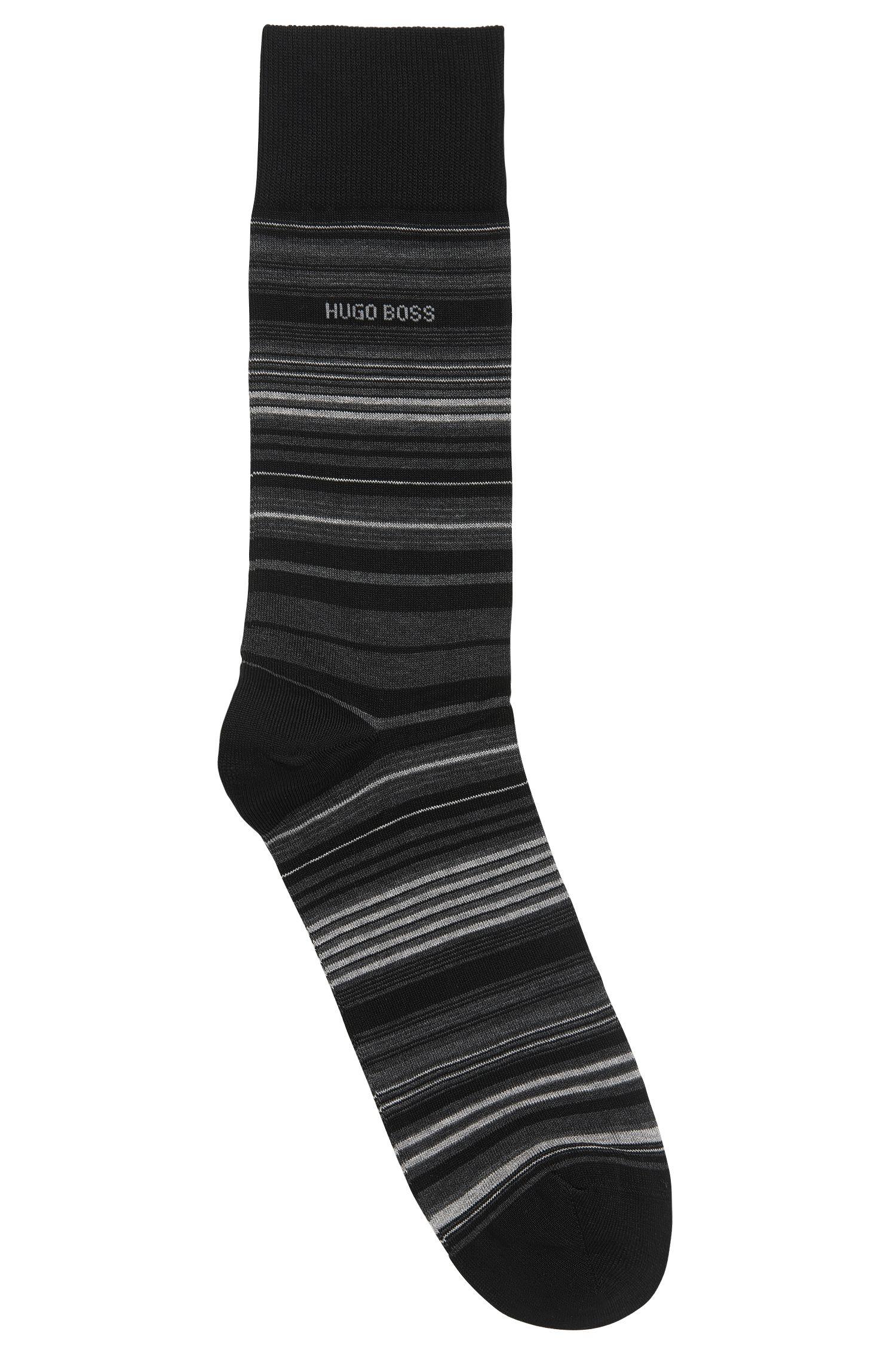 Striped Stretch Cotton Blend Socks | RS Multistripe US MC, Black