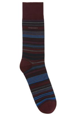 'RS Multistripe US MC' | Striped Stretch Cotton Blend Socks, Dark Red