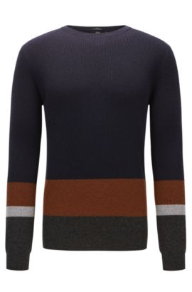 'Nemon' | Colorblocked Virgin Wool Sweater, Dark Blue
