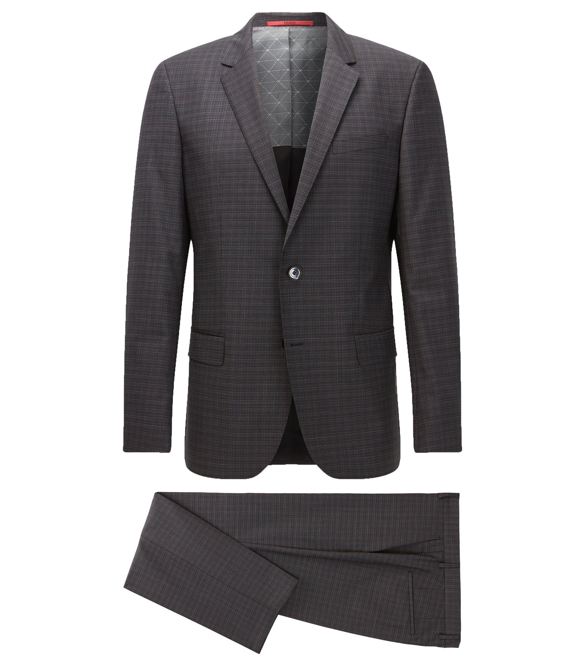 Plaid Virgin Wool Suit, Slim Fit | C-Huge/C-Genius, Charcoal