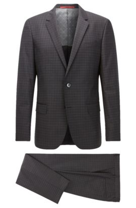 Plaid Virgin Wool Suit, Slim Fit | C-Huge/C-Genius, Charcoal