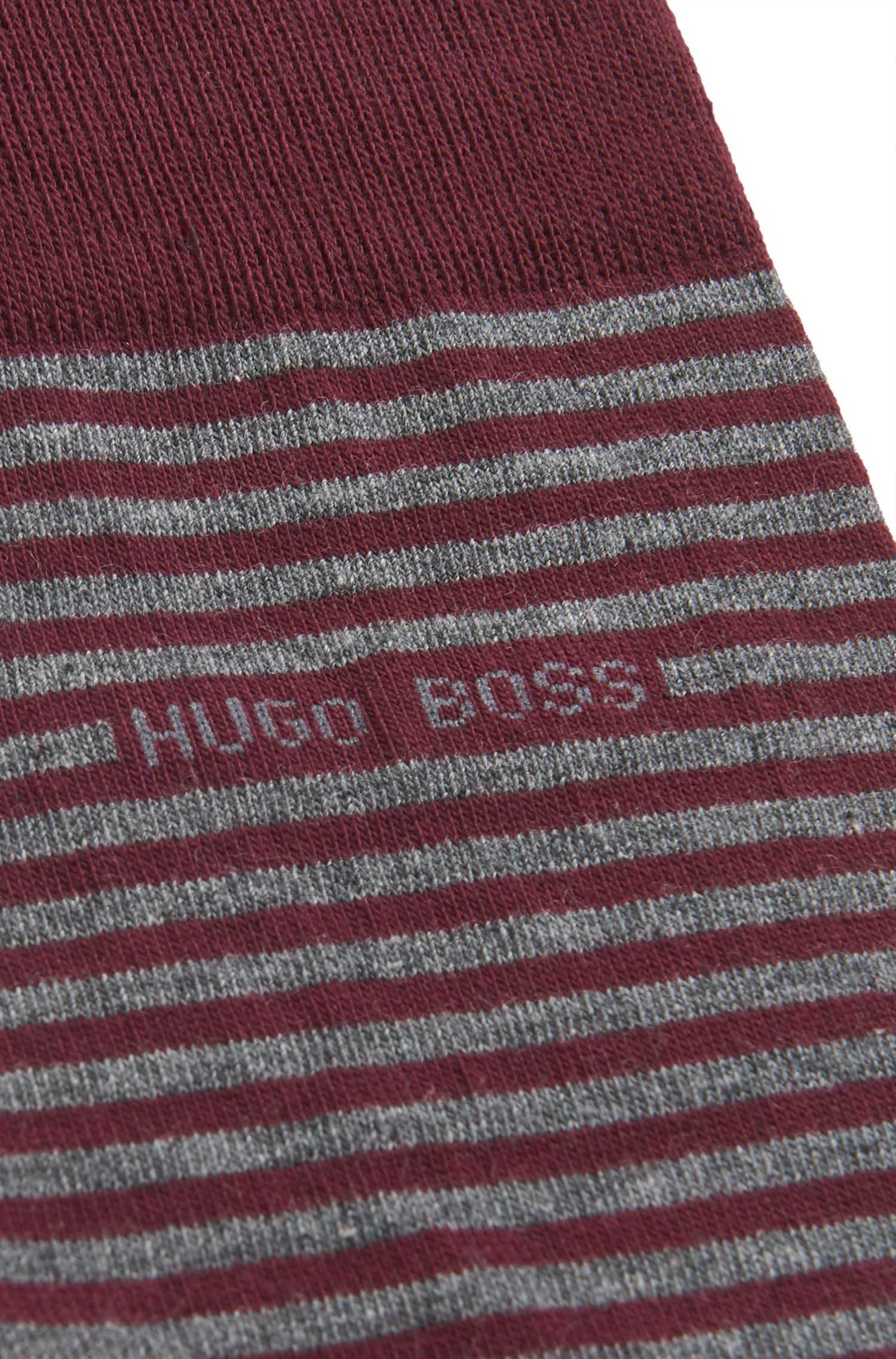 Striped Stretch Cotton Sock | Marc RS Stripe US, Dark Red