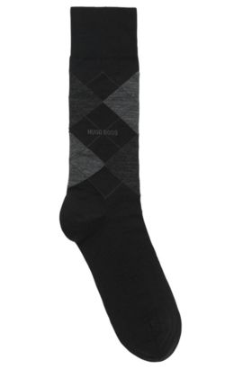 'John RS Argyle US' | Argyle Stretch Wool Socks, Black