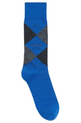 'John RS Argyle US' | Argyle Stretch Wool Socks, Blue