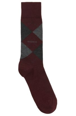 'John RS Argyle US' | Argyle Stretch Wool Socks, Dark Red