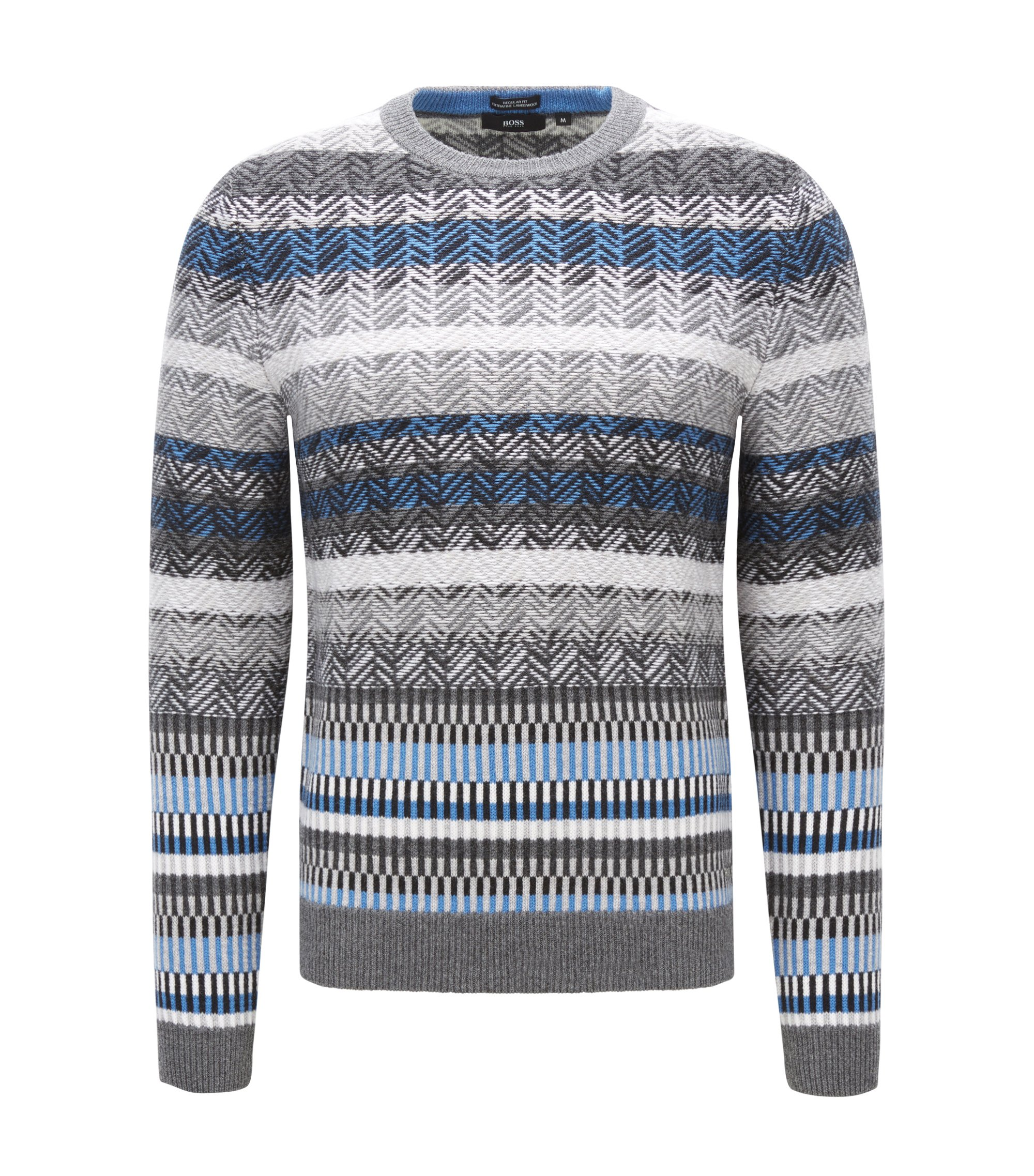 'Nemonti' | Fair Isle Virgin Wool Sweater, Grey
