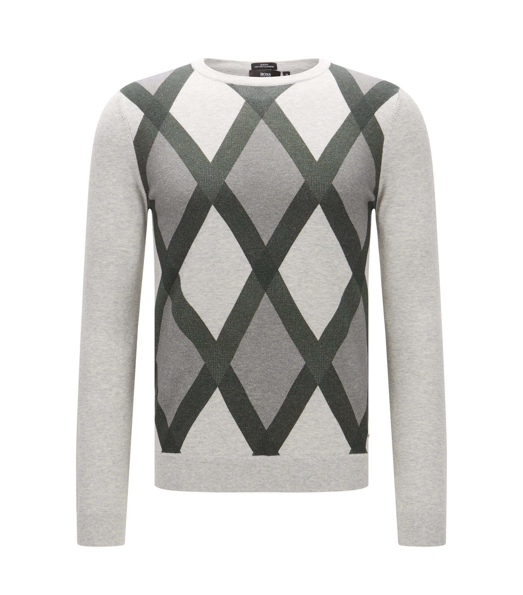 'Niras' | Argyle Cotton Cashmere Sweater, Open Grey