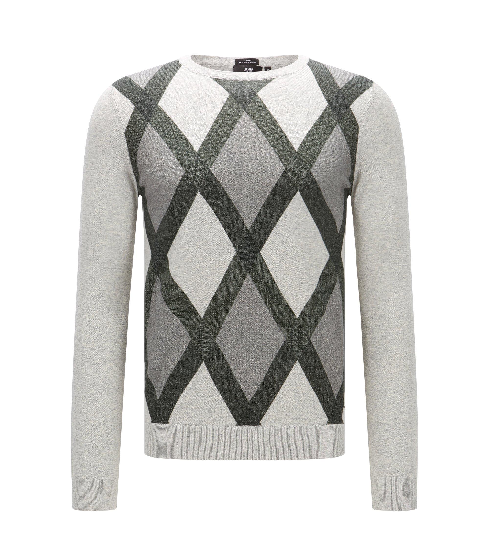 'Niras' | Argyle Cotton Cashmere Sweater, Open Grey