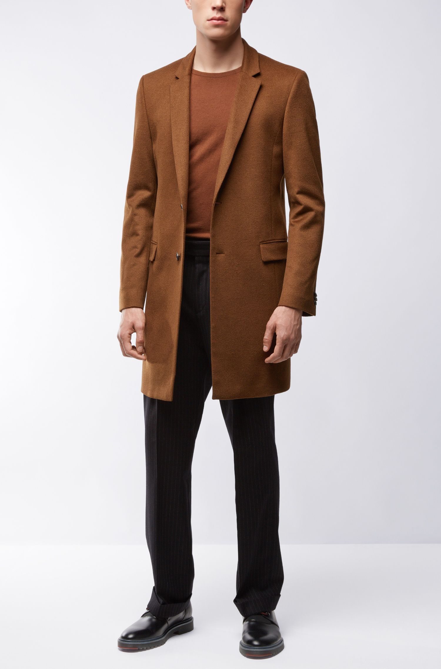 Cashmere Topcoat, Extra Slim Fit | Arto, Brown
