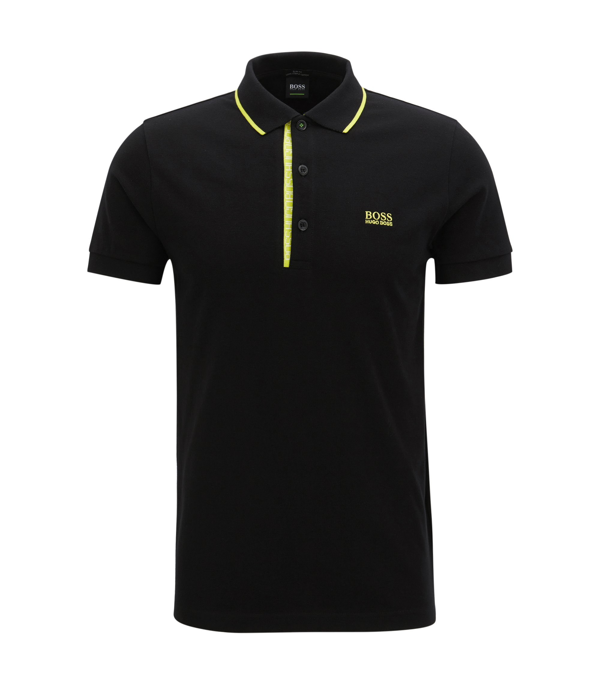 Oxfotd Cotton Polo Shirt, Slim Fit | Paule, Black