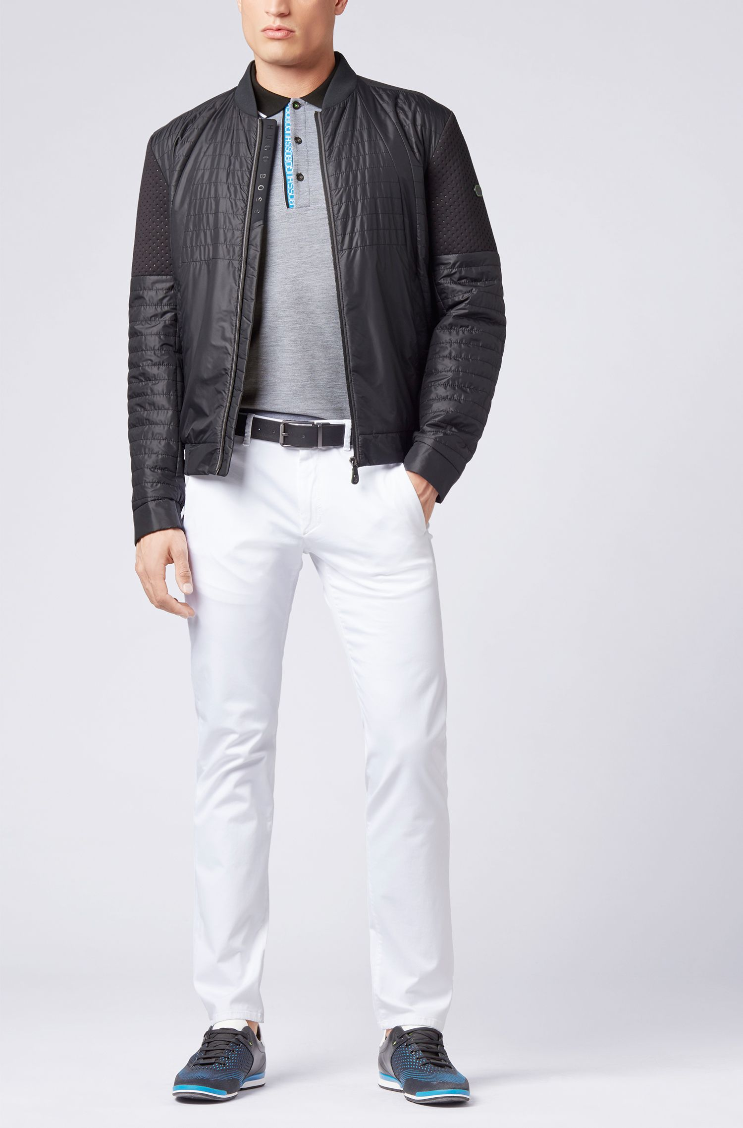 Slim-fit logo polo shirt in cotton piqué, Black