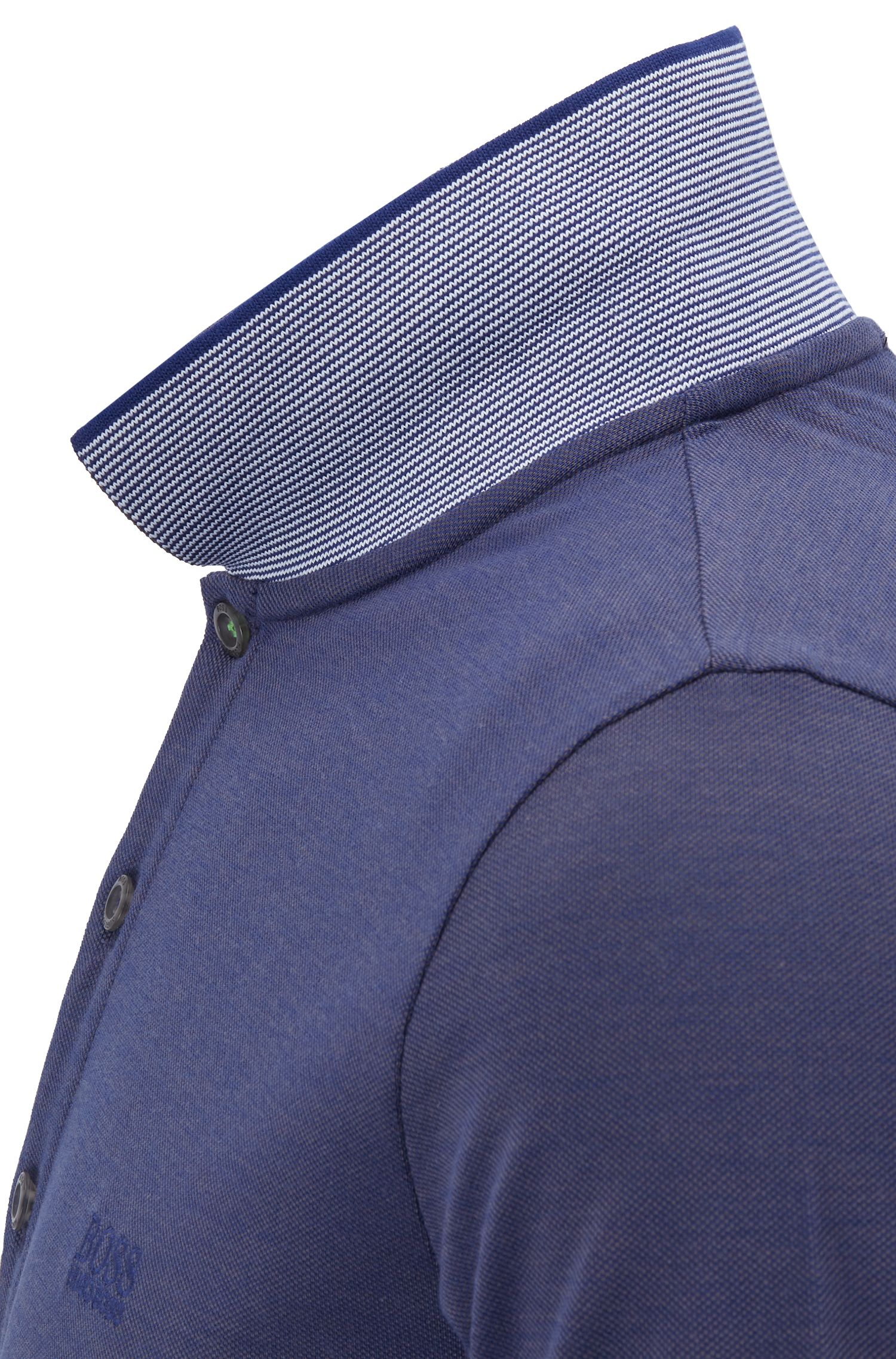 Slim-fit logo polo shirt in cotton piqué, Dark Grey