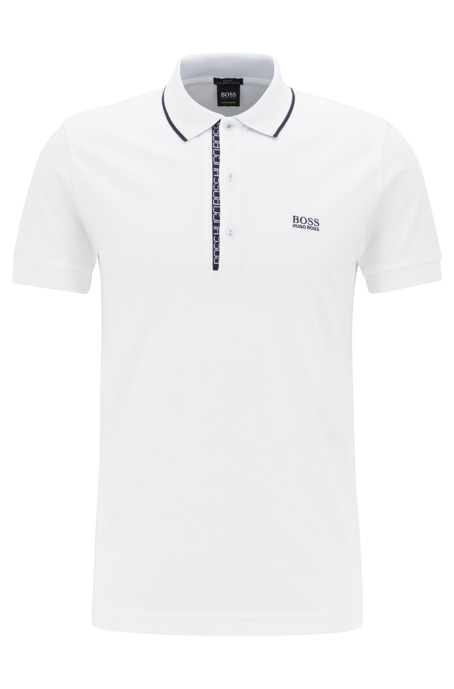 Slim-fit logo polo shirt in cotton piqué, Natural
