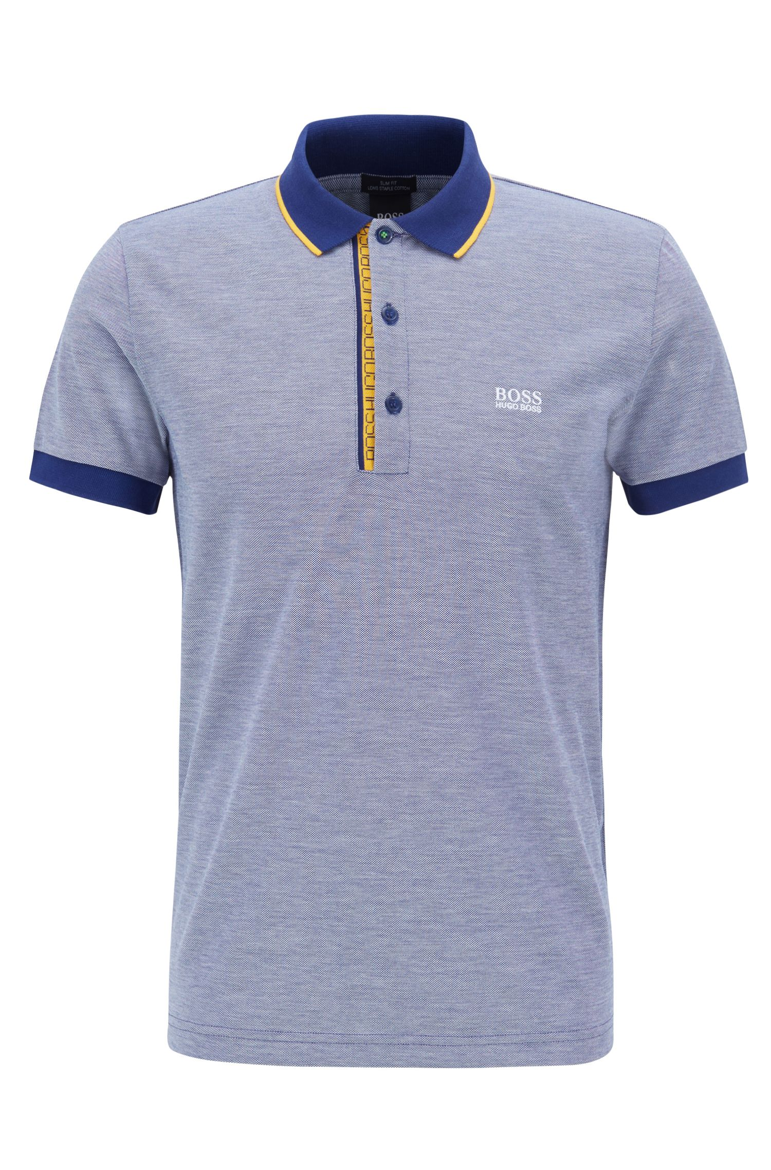Slim-fit logo polo shirt in cotton piqué, Dark Blue